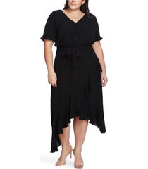 plus size women's cece ruffle belted asymmetrical hem dress