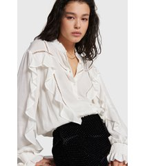 alix the label 207960811 ladies woven blouse whit tapes and ruffles