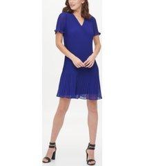 dkny v-neck flutter sleeve pleated shift dress