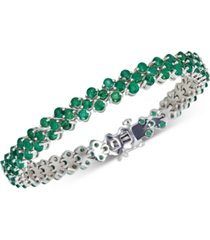 emerald tennis bracelet (13 ct. t.w.) in sterling silver(also available in sapphire)