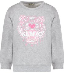 kenzo kids grey girl sweatshirt with pink tiger