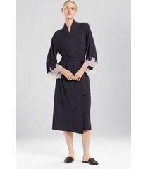 natori luxe shangri-la sleep/lounge/bath wrap/robe, women's, grey, size m natori