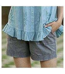 cotton shorts, 'summer relaxation in slate' (india)