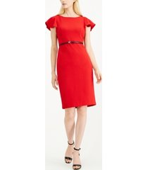 calvin klein petite ruffle-shoulder sheath dress