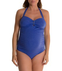 women's pez d'or helena one-piece maternity swimsuit, size x-large - blue