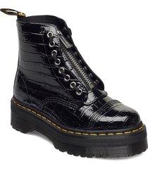 sinclair black patent lamper croc emboss shoes boots ankle boots ankle boot - flat svart dr. martens