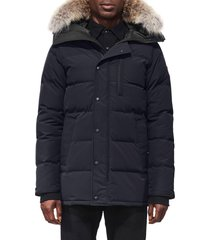 men's canada goose 'carson' slim fit hooded parka with genuine coyote fur trim, size medium - blue