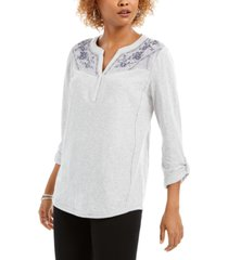 style & co embroidered-yoke roll-tab sleeve top, created for macy's