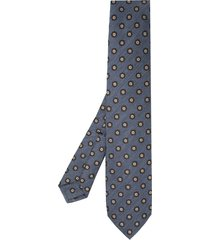 barba floral-embroidered tie - blue