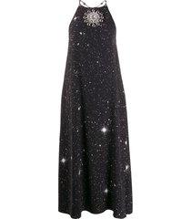 christopher kane star crystal halterneck dress - black