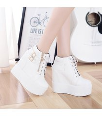 pp210 high wedge w lace up top, zipper side, double buckles, us size 4-8.5,white
