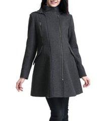 women's kimi and kai cordella wool blend hooded maternity coat, size large - grey
