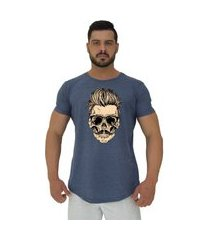 camiseta longline alto conceito caveira cabelo estiloso mescla marinho