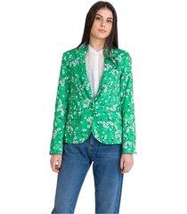 green single-button blazer