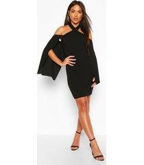 halterneck cape mini bodycon dress, black