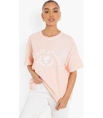 oversized overdye staycation t-shirt, peach