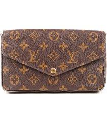 louis vuitton pochette felicie chain wallet monogram coated canvas bag brown/monogram sz: m