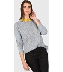 sweater gris ted bodin calado