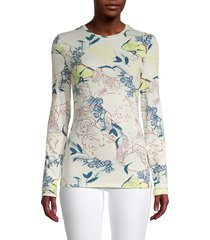 bcbgeneration women's floral-print long-sleeve top - size xs