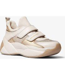 sneaker keeley in pelle e mesh metallizzato con glitter