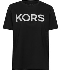 kors stud smrcamp tee t-shirts & tops short-sleeved zwart michael kors