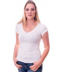 claesens women t-shirt v-neck s/s white ( cl 8010 )