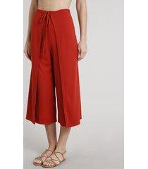 calça feminina pantacourt canelada transpassada cobre