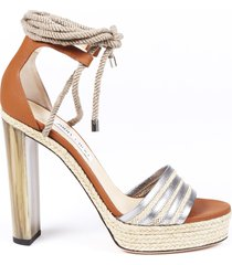 jimmy choo mayje 130 rope tie sandals beige/brown sz: 11.5