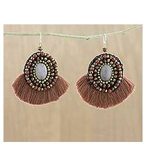quartz and jasper dangle earrings, 'hula skirt' (thailand)
