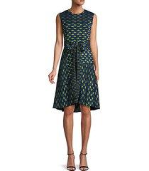 geometric knit flare dress
