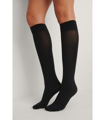 na-kd lingerie återvunna high knee strumpor 2-pack, 40 den - black