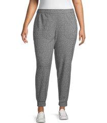 max studio women's plus textured pants - grey - size 1x (14-16)