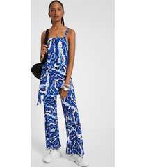 layered jumpsuit in water effect - blue - xl