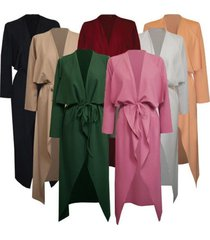 plus size fashion women italian long duster coat ladies french belted trench wat
