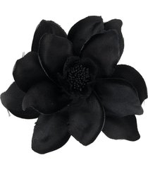 alexander mcqueen flower pin brooch - black