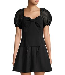 lea & viola women's puff-sleeve top - black - size s