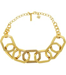 elongated octagon link necklace