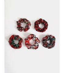 1pc anillo elástico de cuadros navideños cabello