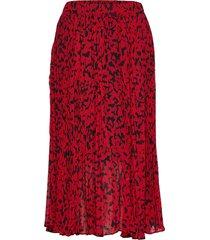 leaf pleat skirt knälång kjol röd michael kors