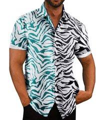 camisa con botones de rayas de cebra de moda personalizada informal de verano para hombres
