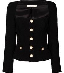 alessandra rich square-neck blazer jacket - black
