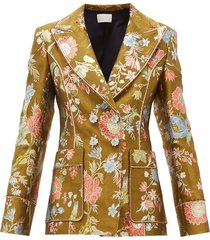 double breasted floral brocade blazer