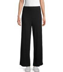 bobeau women's ribbed straight pants - black - size l