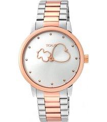 reloj bear time bicolor de acero/ip plateado y rosa tous