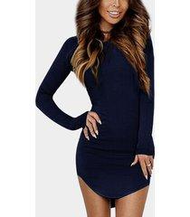 yoins basics redondo cuello ajuste ceñido con dobladillo curvo vestido en azul marino