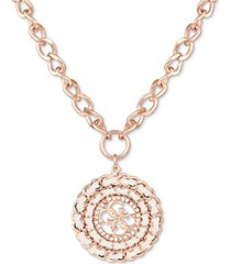 "guess rose gold-tone woven crystal charm pendant necklace, 16"" + 2"" extender"