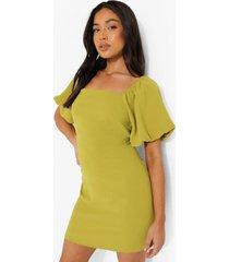 petite linnen look mini jurk met pofmouwen, green