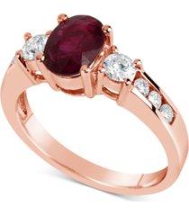 certified ruby (1-1/2 ct. t.w.) & diamond (1/2 ct. t.w.) ring in 14k rose gold