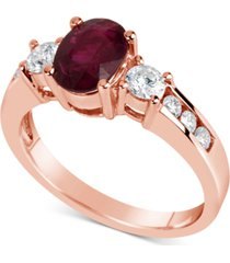 certified ruby (1-1/2 ct. t.w.) & diamond (1/2 ct. t.w.) ring in 14k rose gold