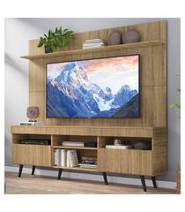 """rack com painel tv 65"""" madri multimóveis rustic com prateleira e pés retrô preto"""